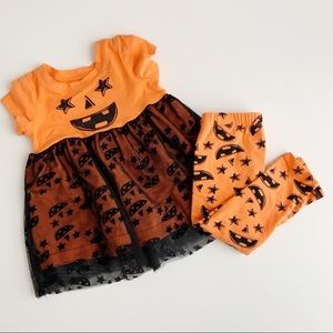 Lightning Bug Girls Pumpkin Dress & Leggings EUC